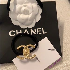 New CHANEL VIP Gold Tone Hair Tie